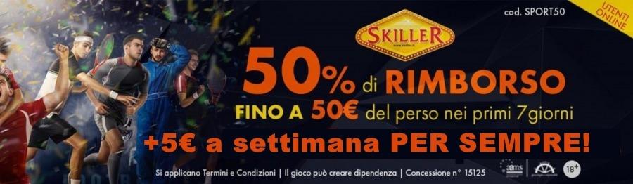 <p>BONUS SCOMMESSE-RIMBORSO 50% SULLE PERDITE DEI PRIMI 7 GIORNI FINO A 50€</p>  <p>+ 5€ A SETTIMANA PER SEMPREcod. SPORT50</p>