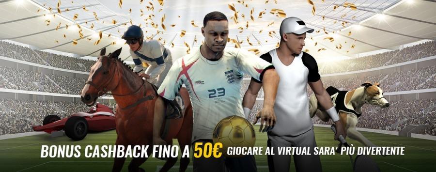 <p>BENVENUTO SPORT VIRTUALI - CASHBACK 25% FINO A 50€</p>