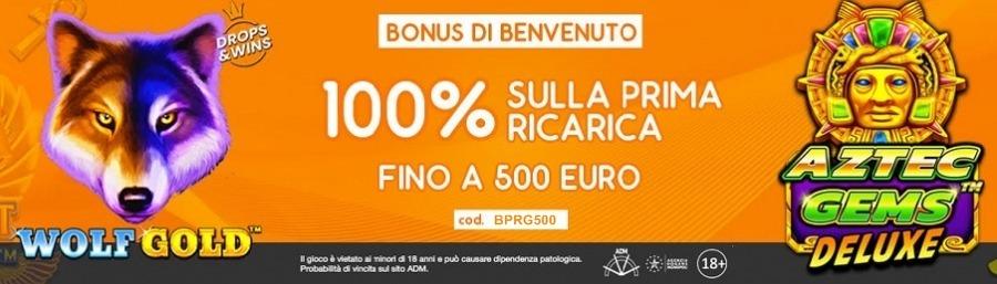 <p>Bonus Casino – Ricevi il 100% della prima ricarica fino a 500€. cod. BPRG500</p>